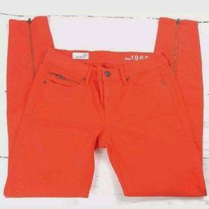GAP red jean legging skinny with zipper cuffs